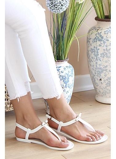 Pembe Potin A9819-20Beyaz Beyaz Kadın Sandalet A9819-20 Beyaz